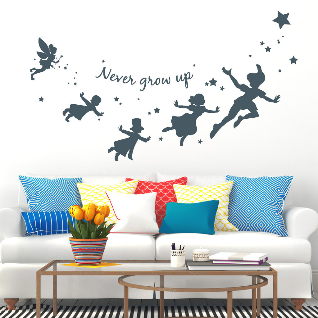 peter pan wandtattoo never grow up reuniecollegenoetsele. Black Bedroom Furniture Sets. Home Design Ideas