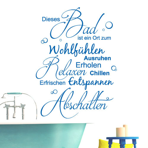 Wellness schriftzug  Bad & Wellness - Wandtattoo Loft Wandsticker