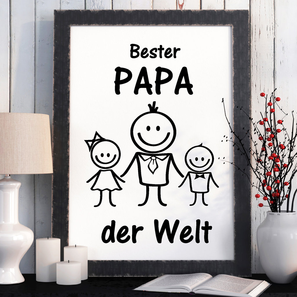 print illustration bester papa der welt kinder wandtattoo loft. Black Bedroom Furniture Sets. Home Design Ideas
