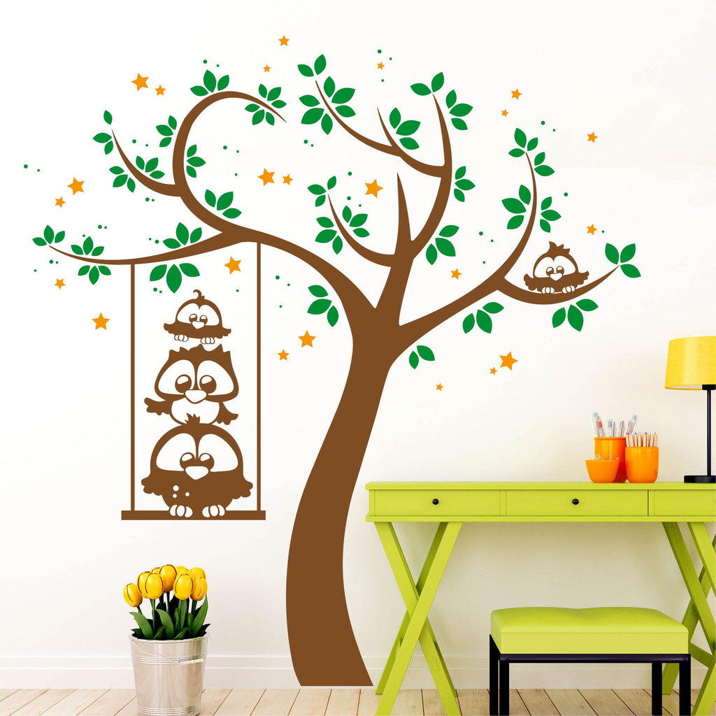 baum eulen 3 farbig wall decal. Black Bedroom Furniture Sets. Home Design Ideas