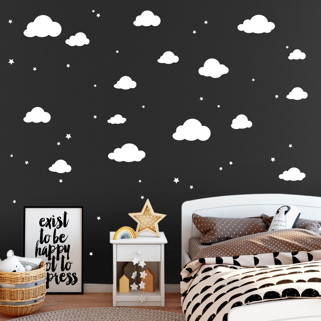 deko wolken mit sternen 35teilig wandtattoo. Black Bedroom Furniture Sets. Home Design Ideas