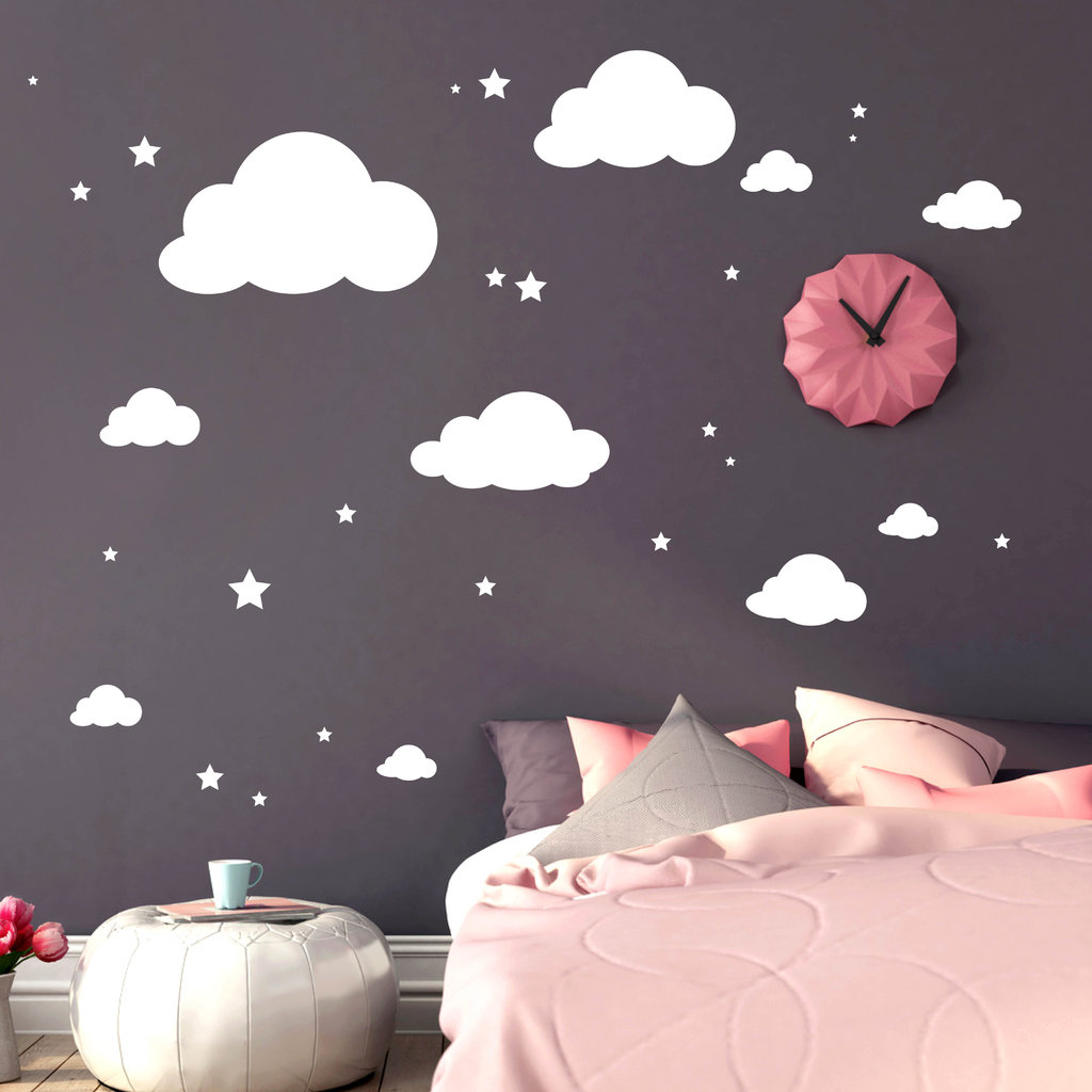 gro e deko wolken mit sternen wandtattoo. Black Bedroom Furniture Sets. Home Design Ideas