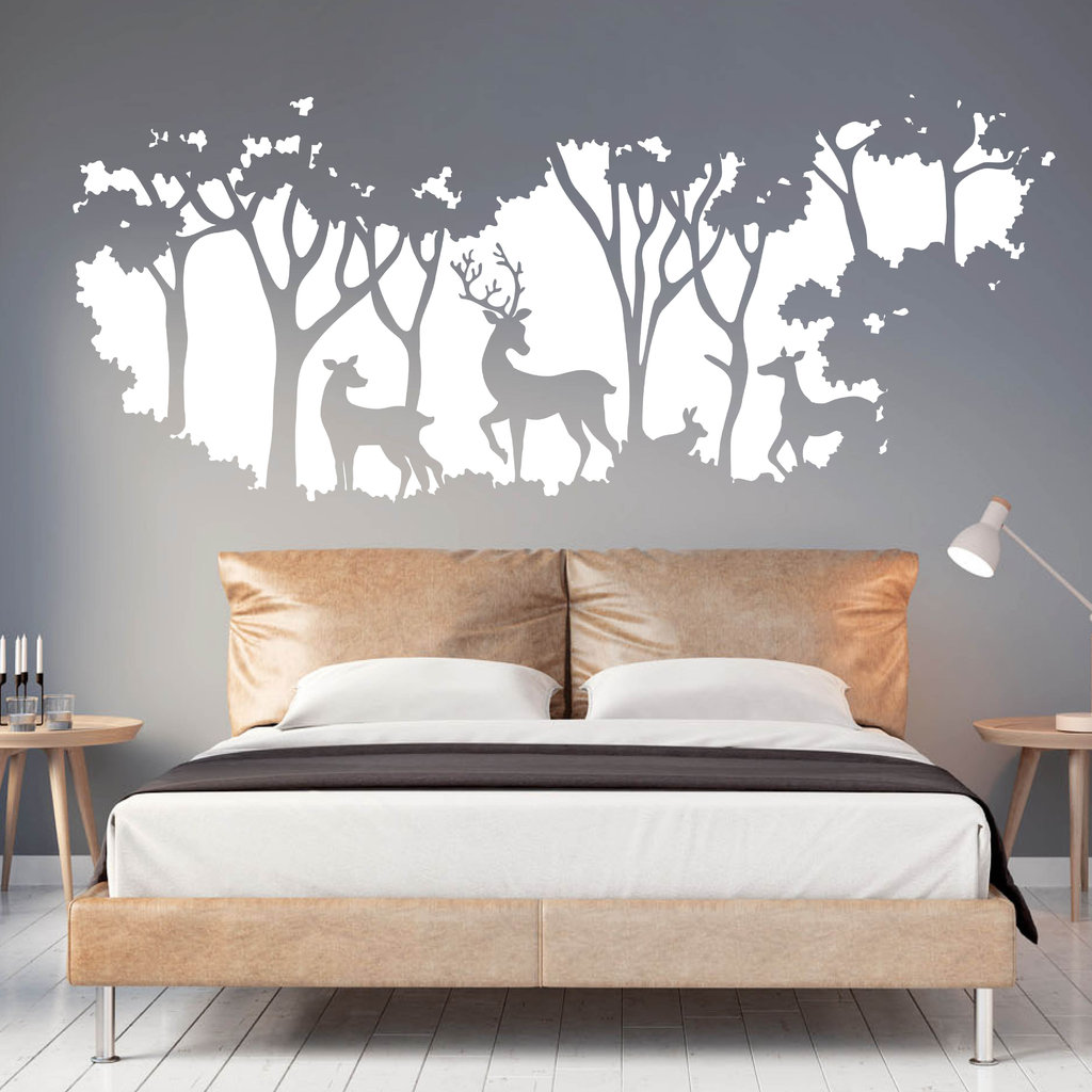 wandtattoo hirsche im wald wandtattoo. Black Bedroom Furniture Sets. Home Design Ideas