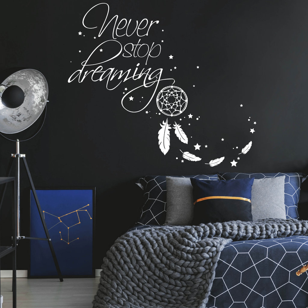 traumf nger never stop dreaming wandtattoo. Black Bedroom Furniture Sets. Home Design Ideas