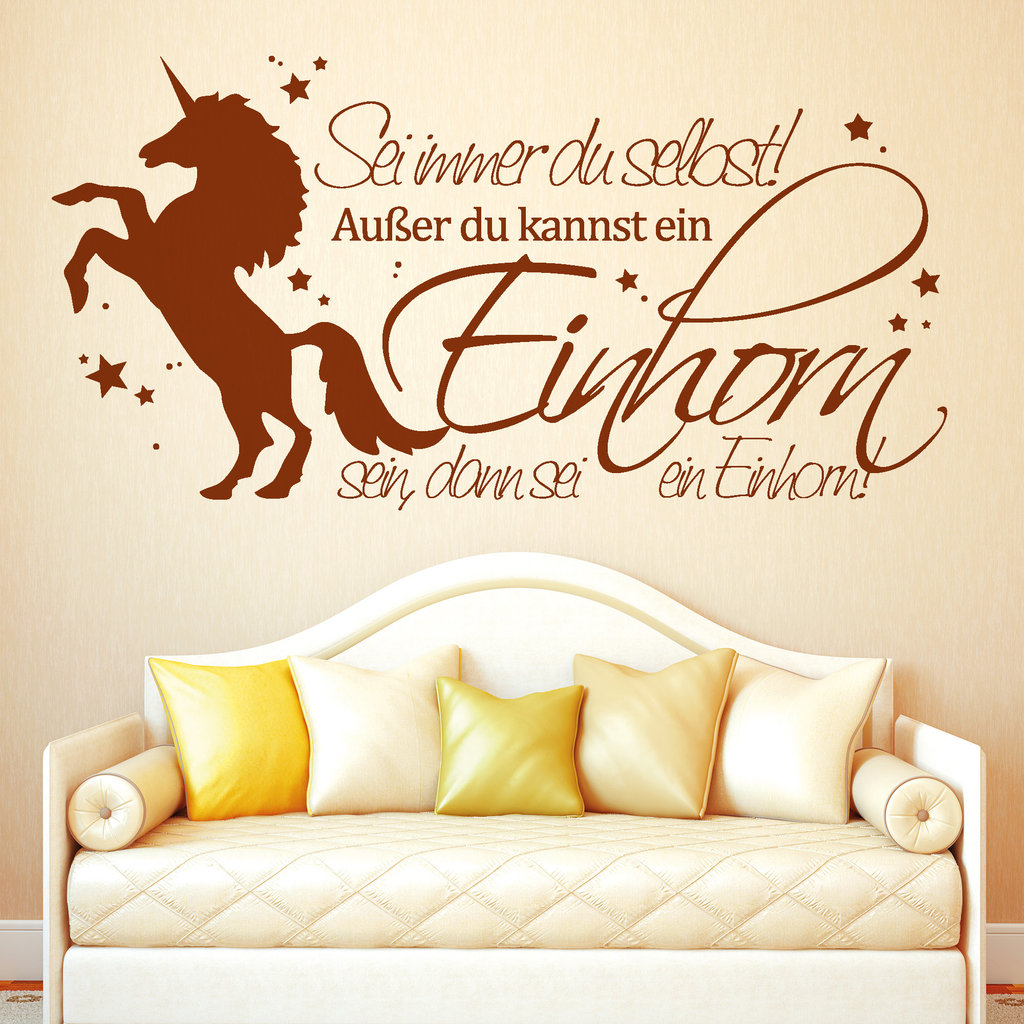 lustiger spruch mit einhorn sei immer du selbst wandtattoo. Black Bedroom Furniture Sets. Home Design Ideas