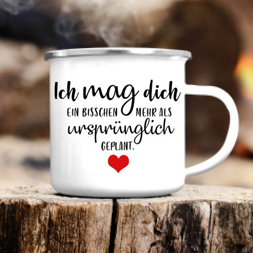 "Campingbecher ""Ich mag dich"" Emaille"