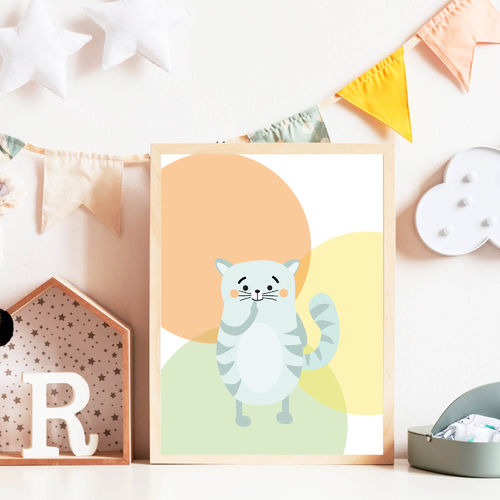 Print Illustration Kinderzimmer Poster Katze