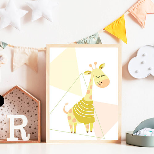 Print Illustration Kinderzimmer Poster Giraffe