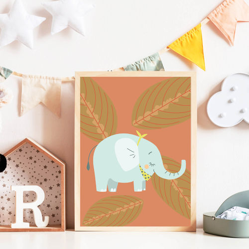 Print Illustration Kinderzimmer Poster Elefant