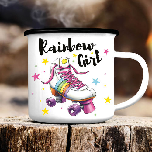 Emaille Campingbecher Rainbow Girl Rollerscate