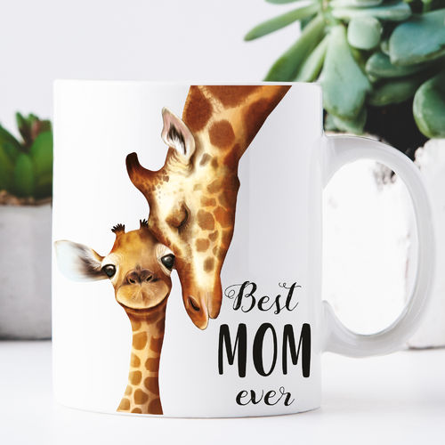 Keramiktasse Best mom ever Giraffenmama mit Kind
