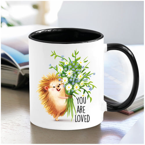 "Tasse Keramik zweifarbig ""You are loved"" Igel"