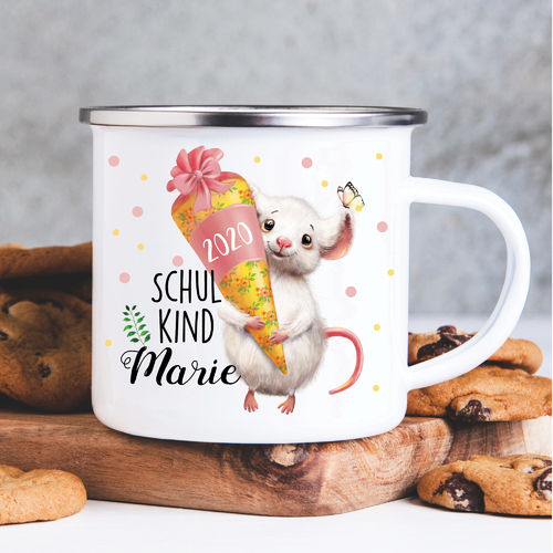 Kindertasse Emaille Maus Einschulung Wunschname