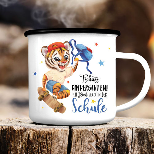 Kindertasse Emaille Tiger Einschulung Wunschname