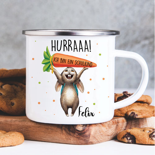 Kindertasse Emaille Hase Einschulung Wunschname